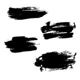 Grunge brushes stroke texture set. Isolated black on white. Paintbrush artistic shape elements. Ink line. Watercolor art template. Paint design. Smear creative Royalty Free Stock Image