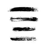 Grunge brushes stroke texture set. Isolated black on white. Paintbrush artistic shape elements. Ink line. Watercolor art template. Paint design. Smear creative Royalty Free Stock Images