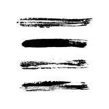 Grunge brushes stroke texture set. Isolated black on white. Paintbrush artistic shape elements. Ink line. Watercolor art template. Paint design. Smear creative Royalty Free Stock Photo