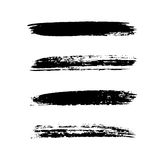 Grunge brushes stroke texture set. Isolated black on white. Paintbrush artistic shape elements. Ink line. Watercolor art template. Paint design. Smear creative Stock Image