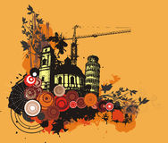 Grunge building background. Grunge style buildings background with floral details. EPS file available Stock Photos