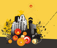 Grunge building background. Urban buildings vector illustration in grunge style. EPS file available Stock Photography