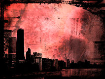 Grunge buildings. Grunge style background with view of chicago vector illustration