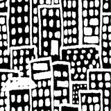 Grunge buildings hand drawn black and white pattern seamless vector illustration