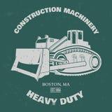 Grunge Bulldozer illustration. T-shirt design. Vector Stock Photo