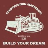 Grunge Bulldozer illustration. T-shirt design. Vector Royalty Free Stock Images