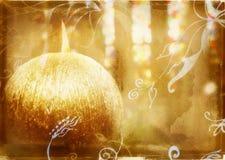 Grunge burning candle. Round gold candle on grunge background with swirls Royalty Free Stock Photo