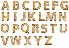 Grunge burnt paper alphabet. Isolated on white background Royalty Free Stock Image