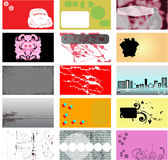 Grunge Business Card Designs. A set of 15 grunge business card designs. Drawn to scale of standard business card size stock illustration
