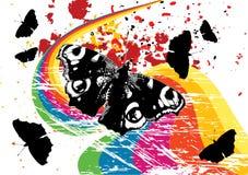 Grunge butterflies, rainbow Stock Photography