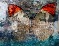 Grunge butterfly background texture. Layers stock photography