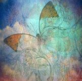 Grunge butterfly background texturewith hand. Painted flowers royalty free stock photography