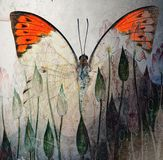 A grunge butterfly design wallpaper. Texture royalty free stock photos