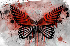 Grunge butterfly illustration. With watercolors Royalty Free Stock Images