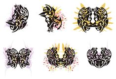 Grunge butterfly wings and grunge tribal elements Royalty Free Stock Images
