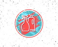 Cleaning spray and Shampoo line icon. Cleanser. Stock Photo