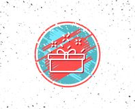 Gift box line icon. Present sign. Royalty Free Stock Images