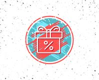 Gift box with Percentage line icon. Present. Grunge button with symbol. Gift box with Percentage line icon. Present or Sale sign. Birthday Shopping symbol Stock Photography