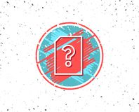 Unknown Document line icon. File with Question. Grunge button with symbol. Unknown Document line icon. File with Question mark sign. Untitled Paper page concept Stock Images