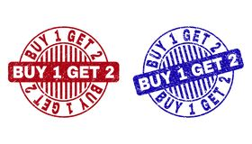 Free Grunge BUY 1 GET 2 Textured Round Stamp Seals Royalty Free Stock Images - 143711219