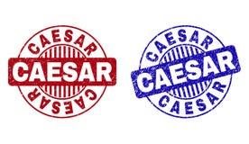 Grunge CAESAR Scratched Round Stamps vektor illustrationer