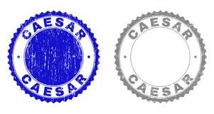 Grunge CAESAR Textured Stamp Seals vektor illustrationer
