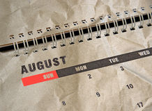 Grunge calendar for August Royalty Free Stock Image