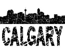 Grunge Calgary skyline with text Royalty Free Stock Images