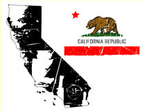 Grunge california map with flag. Vector illustration of california map with its state flag. the style is grunge and aged Royalty Free Stock Images