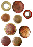 Grunge cameo findings. Round rusted cameos for digital scrapbooking vector illustration