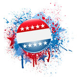 Grunge campaign button. Election campaign button on grunge splatter background Stock Images