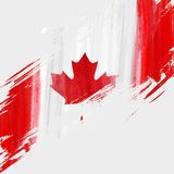 Grunge Canada flag background. Grunge Canadian flag background with watercolor brushed lines. Template for holidays, Canada day, invitation, poster, flyer Royalty Free Stock Image