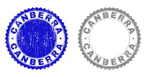 Grunge CANBERRA Scratched Stamp Seals. Grunge CANBERRA stamp seals isolated on a white background. Rosette seals with grunge texture in blue and grey colors royalty free illustration