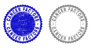Grunge CANCER FACTORS Scratched Stamp Seals. Grunge CANCER FACTORS stamp seals isolated on a white background. Rosette seals with grunge texture in blue and gray stock illustration