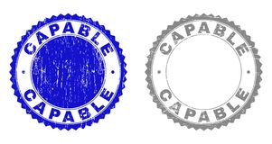 Grunge CAPABLE Textured Watermarks. Grunge CAPABLE stamp seals isolated on a white background. Rosette seals with grunge texture in blue and grey colors. Vector stock illustration
