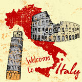 Grunge card with Italy map and some attractions. Grunge card with hand drawn Italy map and some attractions Royalty Free Stock Photography