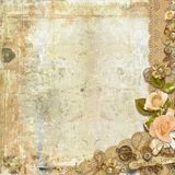 Grunge card on shabby background with roses stock photo