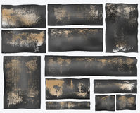 Grunge cardboard shapes. Illustration of abstract cardboard shaped impressions, white background Royalty Free Stock Photography