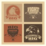 Grunge cards set with eagle logos and emblem. Vector fighter and champion poster illustration Royalty Free Stock Images