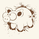 Grunge Cartoon Pig. Illustration of a cartoon pig with large eyes in a grunge design Stock Image
