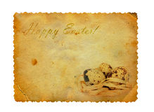 Grunge carved postcard with eggs Royalty Free Stock Photos