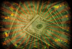 Grunge Cash. Grunge green and red Cash with stars Stock Photo