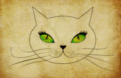 Grunge cat face with green eyes Royalty Free Stock Photography