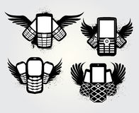 Grunge Cellphone Emblem Stock Photos
