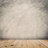 Grunge cement wall and wood floor background and texture Stock Image