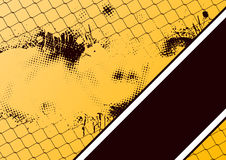 Grunge chain link fence. Grunge style chain link fence on yellow and black background Stock Image
