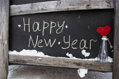 Grunge chalk inscription on the board happy new year Royalty Free Stock Photos
