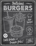 Grunge Chalkboard Fast Food Menu Template 4 Stock Images