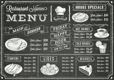 Grunge Chalkboard menu Restauracyjny szablon Zdjęcia Royalty Free