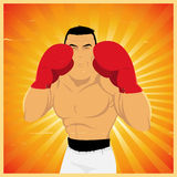 Grunge Champion Boxer In Guard. Illustration of a vintage poster with champion boxer guard Stock Image